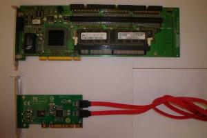 Controladora simple SATA con RAID 0/1 y controladora Promise Supertrak SX6000 con procesador dedicado.